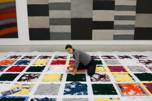 "Liliane Tomasko works on the sculpture ""Untitled""(1993-2016). Photo: Sean Scully"
